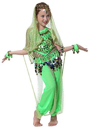 Mädchen Indische Bauchtanz Kostüme Karnevalkostüm Grün 152/164 (Elfen Kostüm Bilder)