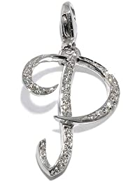 Gioie Women's Pendant in White 18k Gold with Diamond H/SI, Line Initials, 2.4 Grams