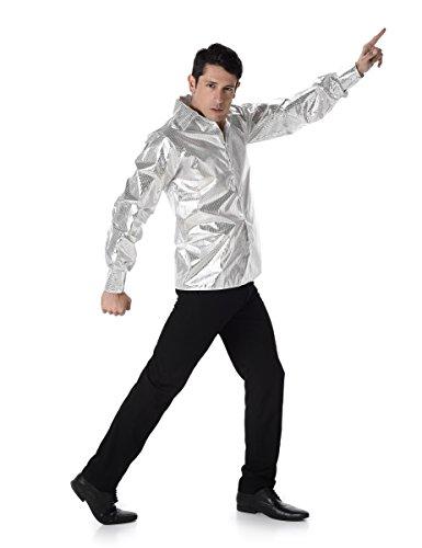 tten-Look für Herren M (Silbernes Disco-hemd)