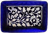 SHIV KRIPA Art Pottery Decorative Ceramic Tray (16 x 10.5 x 5 cm, Blue)