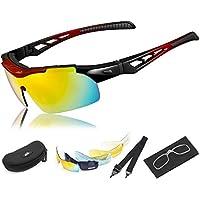 HiHiLL Gafas Ciclismo Hombre, Gafas de Sol Deportivas Polarizadas con 5 Lentes Intercambiables UV400 Protección Antivaho Antireflejo Anti Viento para Hombre y Mujer - Rojo