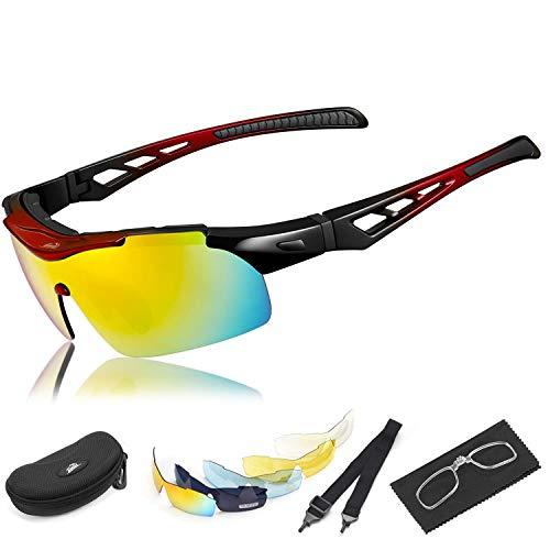 HiHiLL Polarized Radsportbrille, Sport-Sonnenbrille mit 5 Wechselgläsern UV400 Blendfreier Blendschutz für Männer und Frauen Radfahren Laufen MTB MTB Ski Mountainbike - Rot