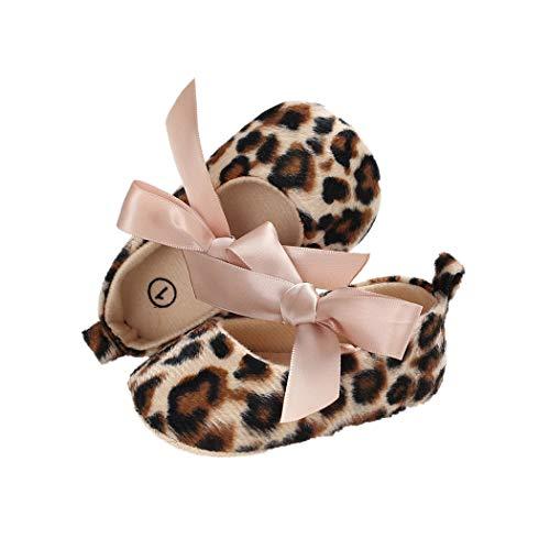 BYSTE Scarpe da Bambino Estate Bowknot Leopardo Scarpe da Culla Anti Scivolo Fondo Morbido Scarpe per Bambini Neonato Toddler Scarpine Primi Passi 0-18 Mesi (0-6 Mesi, Marrone)