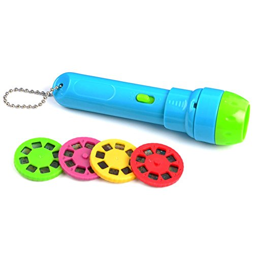 Waroomss Kleinkind-Projektor-Taschenlampe, Kinder-Leuchtendes Spielzeug-Tierdiashow-Projektor-Baby-Taschenlampe Vorschulspielzeug mit Knopf-Batterien, 4 PC-Transparente