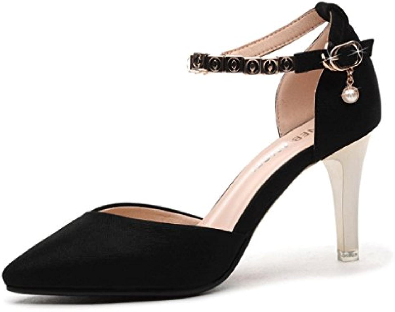 LBDX Versión Coreana Sandalias de Punta Estrecha Zapatos de Tacón Alto Delgado de La Boca de Las Mujeres