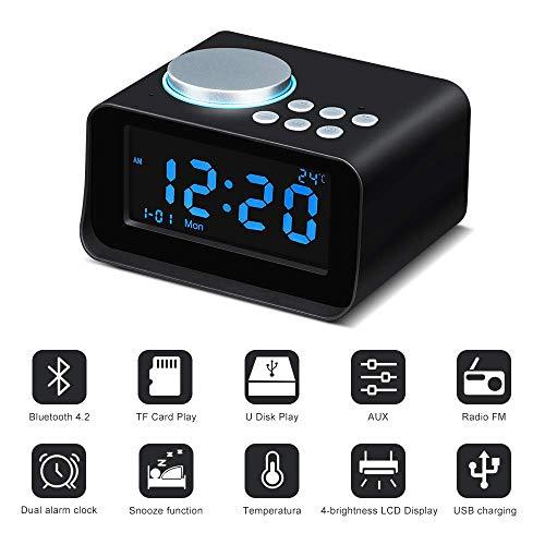 Sairain Digitaler Wecker Schreibtisch Bedside Dual Clock Radio Bluetooth 4.2 Aux-Eingang/TF-Karte/U-Disk-Lautsprecher Wecker Stromversorgung Innenthermometer Ladestation mit LED-Anzeige-Schwarz