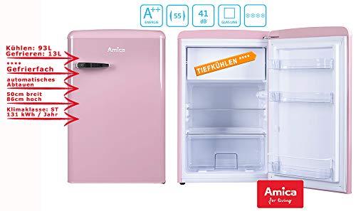 Amica Retro Kühlschrank mit Gefrierfach Standgerät Pink 106l Cupcake Pink