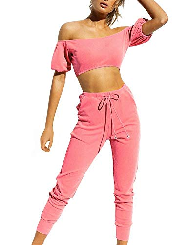 FANCYINN Damen Zweiteiler 2 Stücke Outfits Trainingsanzüge Schulterfrei Trägerlose Crop Tops Jogginghose Set Overall Overall mit Taschen Rosa M