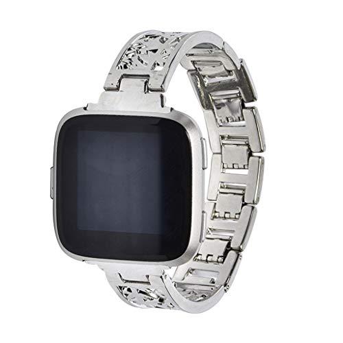 WAOTIER für Fitbit Versa Lite Armband Edelstahl Armband mit Durchbrochene Muster Armband für Fitbit Versa Lite Armband mit Schnellverschluss Armband für Frauen (Silber)