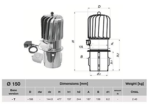 150mm Turbowent rotatif en acier inoxydable avec ventilation cheminée Moteur électrique