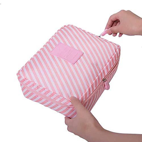 HZB Kosmetiktasche Frauen waschen Kultur Make-up Lagerung Travel Kit Bagrosa Streifen -