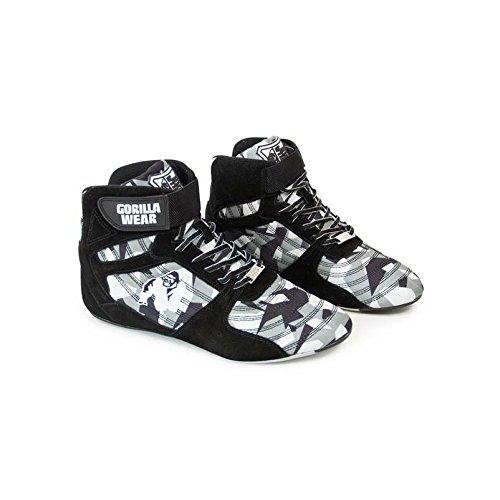 Gorilla Wear Perry High Tops Pro - Black/Gray Camo/schwarz/grau-camo - Bodybuilding und Fitness Schuhe für Damen und Herren, EU 43 -