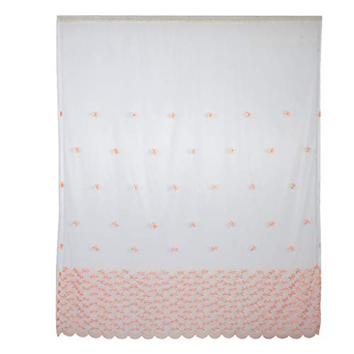 MDenker Stickerei Vorhang mit Ösen transparent Gardine Ösenvorhang Gaze paarig schals Fensterschal Vorhänge für Wohnzimmer Schlafzimmer