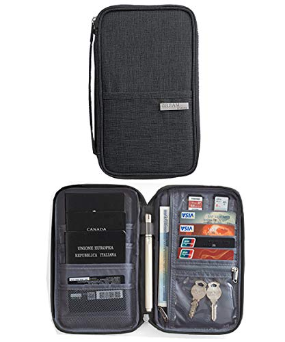 Reisepasshüllen Mappe Reise-Dokumente Tasche Reisepass Kreditkarten-Halter Damen und Herren mit Reißverschluss Geldbörse Etui Ticket - Reißverschluss-etui