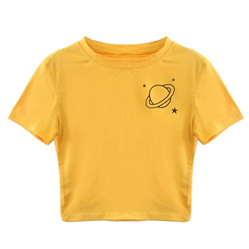 TUDUZ Damen Gestreift Crop Top Kurzarm Streifen Shirt Oberteile (S, Gelb -C)