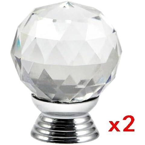 Sonline Mango 2pcs Crystal Glass Tiradores de cajones Gabinete Muebles Cocina - claro