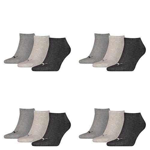PUMA Unisex Invisible Sneaker Socken 12er Pack, Größe:39-42, Farbe:anthracite. lightr grey mel/middle grey mel - Jeans 12 Größe Frauen