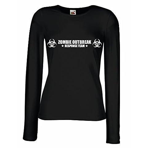 T shirt women Zombie Outbreak Response Team (X-Large Black White)