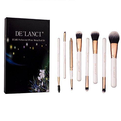 DE'LANCI 8Pcs Pro Makeup Brush Set Blanc + Luxury Gift Box
