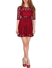 SODACODA 3/4-Arm Damen Prinzessin süßes Spitzenkleid Partykleid Ballkleid Minikleid - EXTRA KURZ - Alle Farben und Größen (S-XXL)