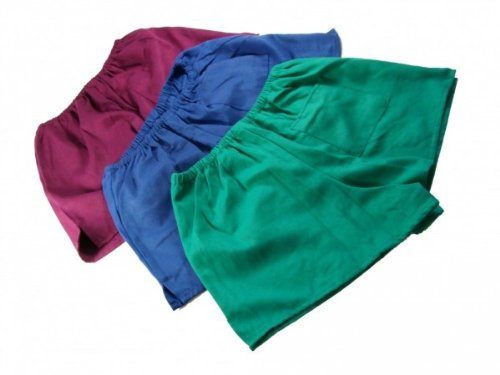 DDR Turnhose Nostalgie Shorts kurze Hose grün / blau / rot (blau, 8)