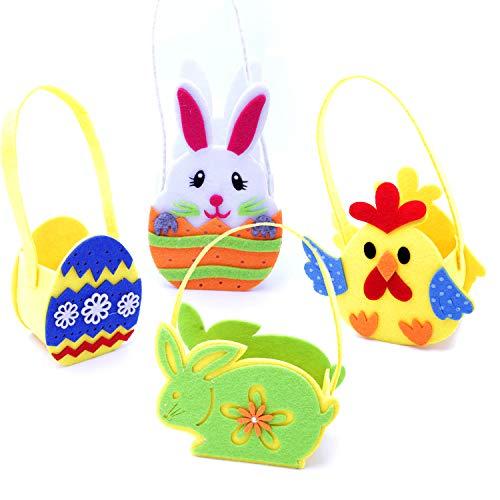 Sicurezzaprima, set da 4 cestini pasquali colorati, da riempire, in feltro, perfetti per la caccia alle uova di pasqua o come regalo