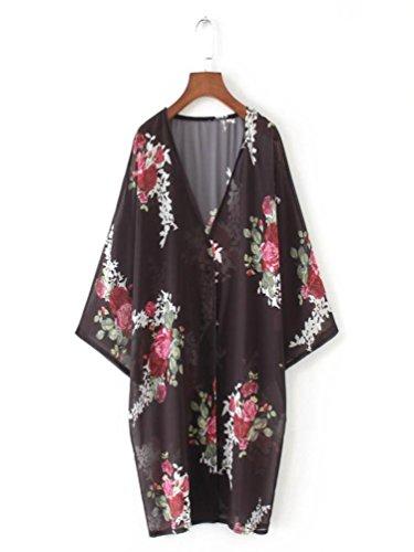 MERICAL Women Chiffon Loose Shawl Print Kimono Cardigan Top Cover up Blouse Beachwear