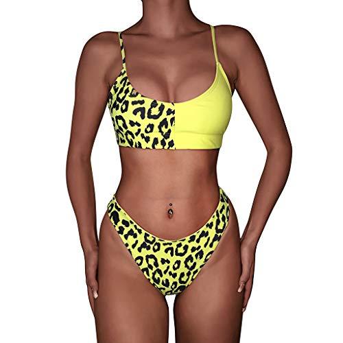 Zottom - Bikini de Verano para Mujer, Estampado de Leopardo Amarillo S
