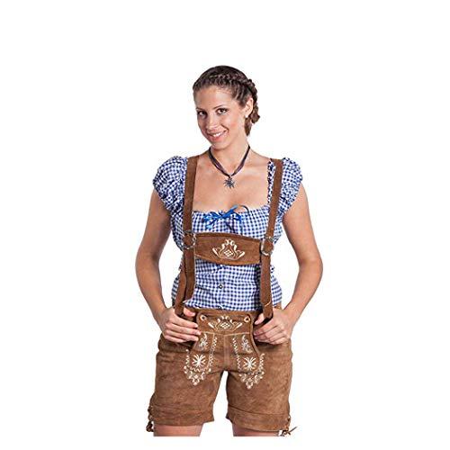 FROHSINN Trachten Damen Lederhose – traditionelle mittellange Trachtenlederhose für Oktoberfest...