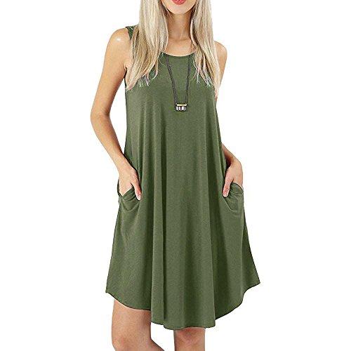ESAILQ Damen Sommerkleid Damen V Ausschnitt Trägerkleid Spaghetti Buegel Blumen Sommerkleid(M,Armeegrün) - Olive Nadelstreifen-anzug