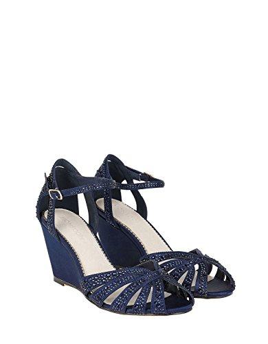 Monsoon Chaussures à talon compensé ornées de strass scintillant Nikita - Femme Bleu Marine