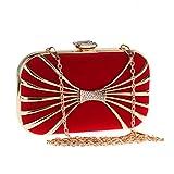 XYQS Femmes Soirée Sac Métal Chaîne Élégant Enveloppe D'épaule Sac D'embrayage Couleurs Divers Comme cadeau (Couleur : Red, taille : 17.5 * 10 * 4cm)
