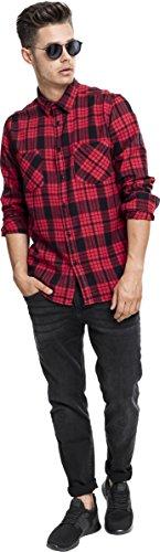 Urban Classics Herren Langarmshirt Hemd Checked Flanell Shirt 2 Red/Blk