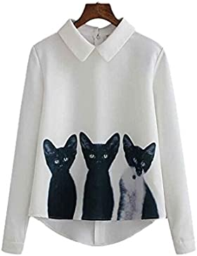 Republe RepubleWomen Casual Chiffon Tres Gatos Tops Camisa de Manga Larga Blusa Suelta