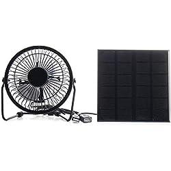 QingMing 3W 6V Carga del Ventilador de Hierro del Panel Solar para el teléfono Ventilador de ventilación de enfriamiento de 4 Pulgadas para Viajar al Aire Libre Pesca Oficina en casa