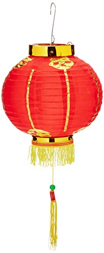 Rote Laterne Stoff (Beistle 50678-12 Laterne Glücksbringer mit Quaste 8-Inch rot/goldfarben)