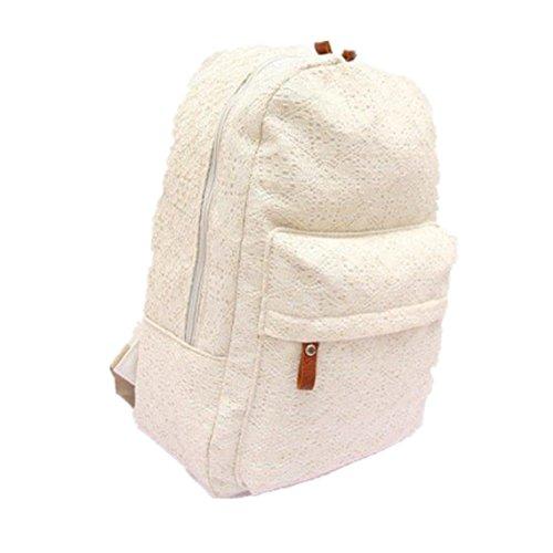 dc93231b0a8ff BZLine® Frauen Spitze Canvas Rucksack Tasche Schultasche Handtasche  Schultasche Weiß