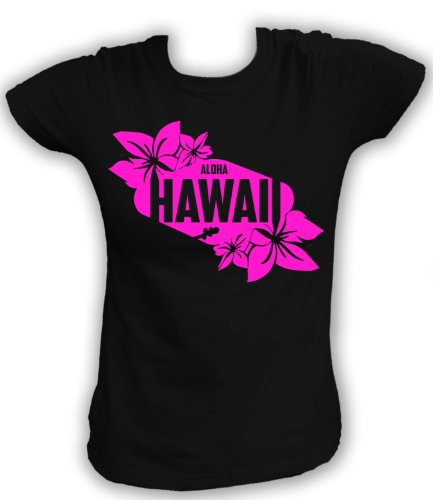 Artdiktat T-Shirt Aloha Hawaii Damen, Größe XXL, schwarz (Hawaii-aloha-shirt Schwarzes)