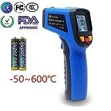 KETOTEK Laser Thermomètres Infrarouges Numérique Pistolet Thermometre Point FDA Thermomètres Pistolet -50~600℃ (-58~1112℉) Thermomètre Alimentaire Grade Professionnel Enregistreur (Bleu)