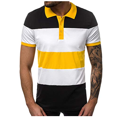 Luckycat Herren Sommer T-Shirt Polo Kragen Slim Fit Herren Sommer Patch Work T-Shirt Rundhals-Ausschnitt Slim Fit Baumwolle-Anteil Moderner Männer T-Shirt Crew Neck Hoodie-Sweatshirt Kurzarm lang