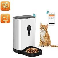 Comedero automático Inteligente Dispensador de Alimentos para Mascotas 4.5L Control WIFI con Temporizador de Cámara HD Programable Soporta Grabación de ...