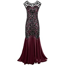 eefa88636c0 PrettyGuide Femmes 1920s Noir Paillette Gatsby Longueur de Plancher Soirée  Robe ...