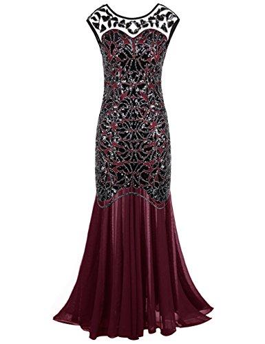 PrettyGuide Damen 1920s Schwarz Pailletten Gatsby Bodenlangen Abendkleid XS Burgund - Lange Schwarze Kleid Flapper