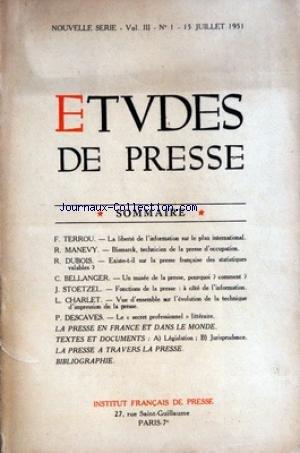 ETUDES DE PRESSE [No 1] du 15/07/1951