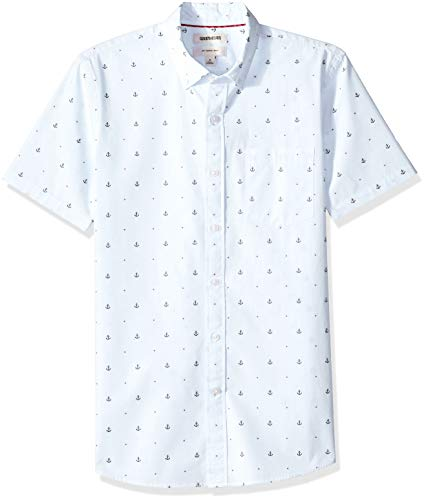 Goodthreads Slim-Fit Short-Sleeve Dobby button-down-shirts, light blue anchor, US M Tall (EU M) -