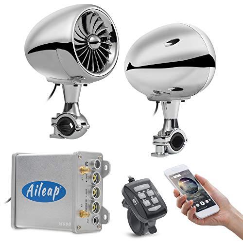Aileap amplificateur 600 W 10,2 cm Gamme complète étanche Moto Bluetooth Haut-parleurs stéréo 7/8-1.25 in. Guidon Lecteur de Musique Audio Amp Système Harley Touring Cruiser ATV UTV Jet Ski