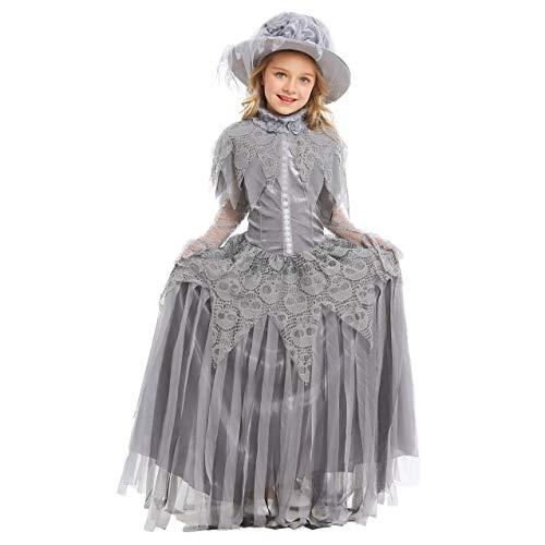 Kostüm Spirit Ghostly - LOLANTA Ghostly Spirit Braut Kostüm für Mädchen Halloween Ghost Bride Kleid mit Hut (8-9 Jahre)