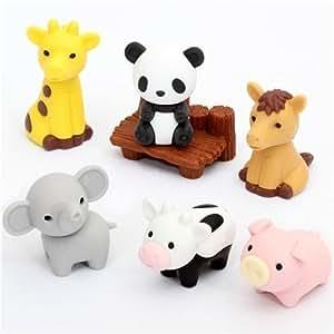 Lot de 7 gommes Iwako en forme d'animaux du zoo