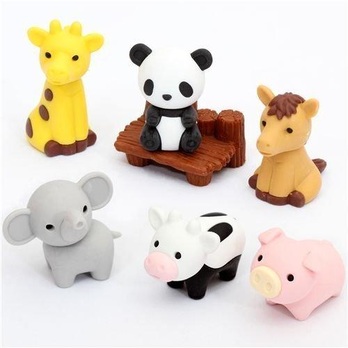 Iwako Radiergummi Zoo Tiere 7 Stück Set