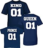 King 1, Queen 1 and Prince 01 Tee Shirt Marine (Contactez Nous pour Les Tailles)